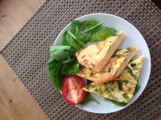 Low carb fritata with spinach/tomato